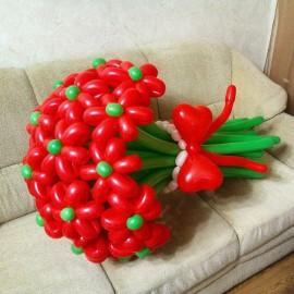 Букет из 15 красных ромашек