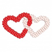 Двойные сердца красно-белые