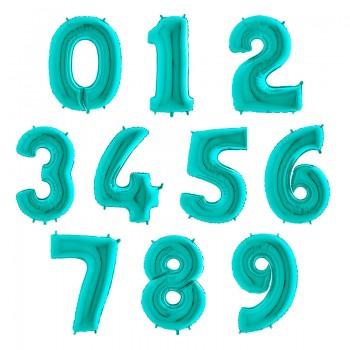 Фольгированная цифра бирюзовая