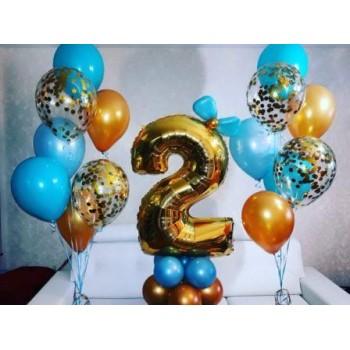 Цифра 2 на подставке + 2 фонтана
