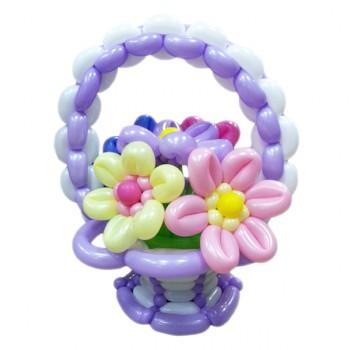 Фиолетовая корзина с цветами
