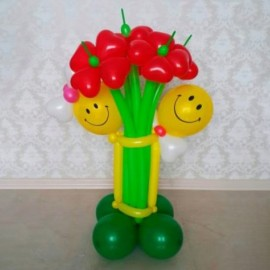 Cтойка 5 цветов с гусеницей
