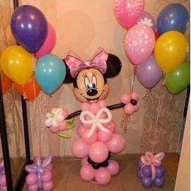 Розовая Мини с шарами + 2 фонтанчика
