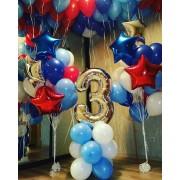 Цифра + 2 фонтана + 15 шаров под потолок