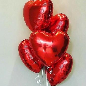 Связка 5 сердец из фольги