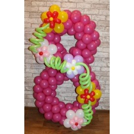 Цифра 8 плетённая с цветами