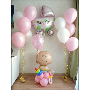 Малышка с шариком + 2 фонтана + коляска