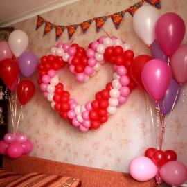 Сердце + 2 фонтана по 7 шаров