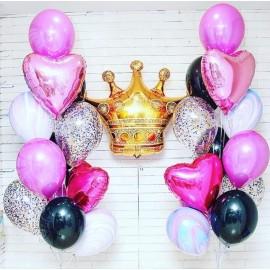 2 черно-розовых фонтана + золотая корона