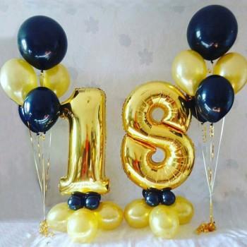 Цифры + 2 фонтана из 5 шаров