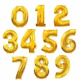 Фольгированная цифра золотая