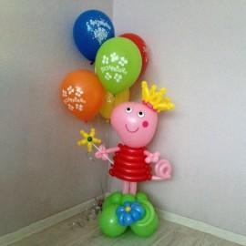 """Свинка Пеппа + фонтан 5 шаров """"Поздравляю"""""""
