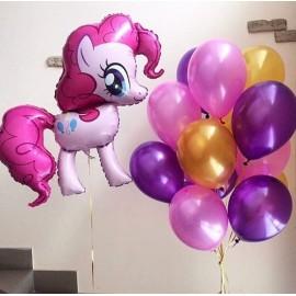 Розовая пони + 11 шаров