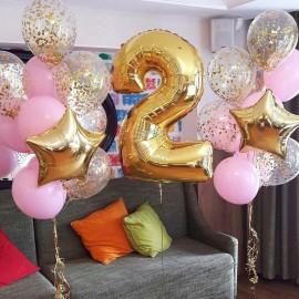 2 фонтана розово-золотых + цифра 2