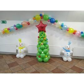 Гирлянда + ёлка + 2 снеговика