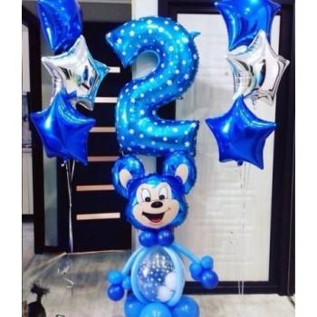 Синий Мики + 2 фонтана + цифра синяя