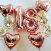 2 фонтана + цифры 18 розовое золото