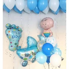 Набор на выписку для мальчика + 13 шаров