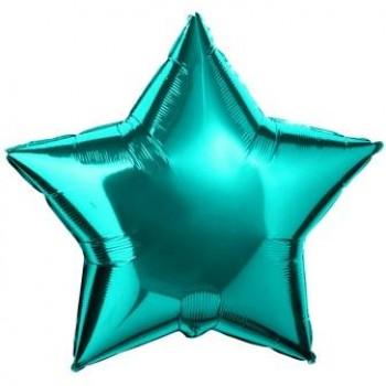 Фольгированная звезда бирюзовая