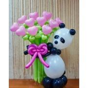 Панда с букетом 11 сердечек