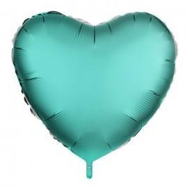 Фольгированное сердце бирюзовое