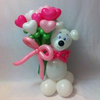 Мишка с букетом 7 сердец