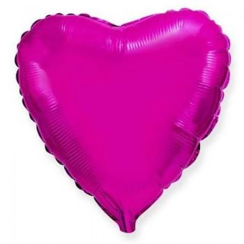 Фольгированное сердце фуксия