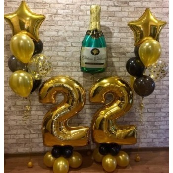 Набор 2 цифры + шампанское + 2 фонтана