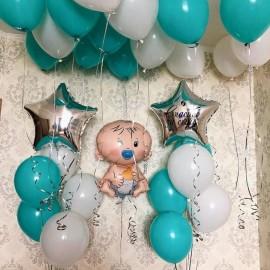 2 фонтана + малыш + 15 шаров под потолок