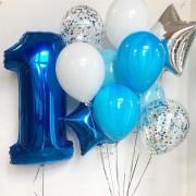 Цифра 1 синяя + связка шаров