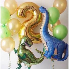 2 динозавра + 2 фонтана + цифра