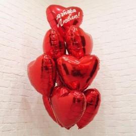 Фонтан из 10 красных сердец + надпись