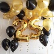 Цифры 25 + 10 шаров + 2 фонтана