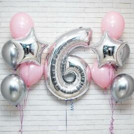 2 фонтана розово-серебряных + цифра