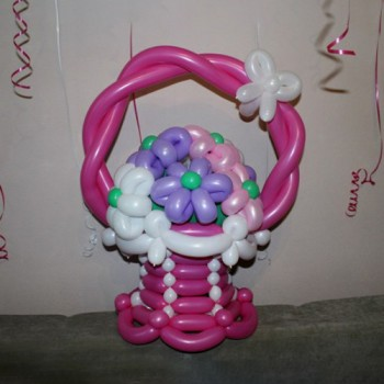 Розовая корзинка 7 ромашек
