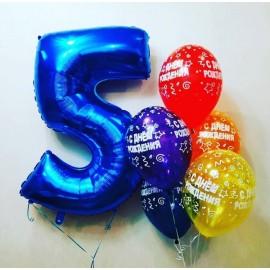 Цифра + 5 шаров с ДР