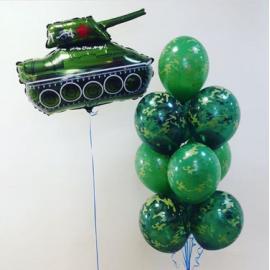 Фонтан 7 шаров камуфляж + танк
