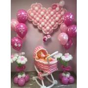 Коляска + 2 букета с шарами + сердце