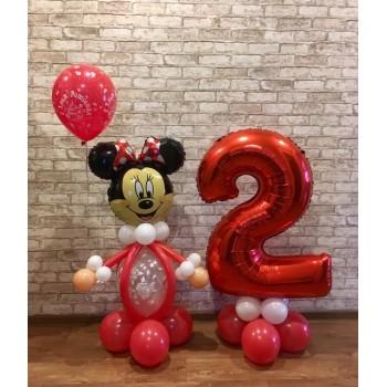 Мини-Маус с шариком + цифра на подставке